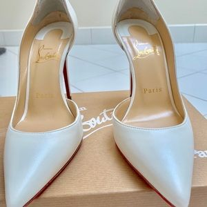Christian Louboutin White Leather 100MM pump.